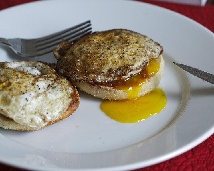 Fried eggs on an English muffin, the prefect breakfast for a weekend morning