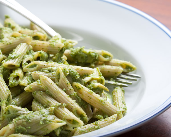 Penne pasta with a spinch artichoke pesto