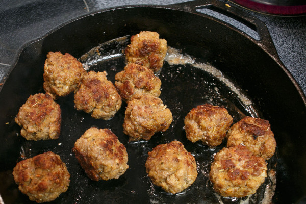 Meatballs Cooking in a Pan